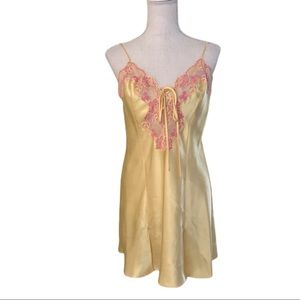 Frederick's of Hollywood Yellow Satin Nightie Lace
